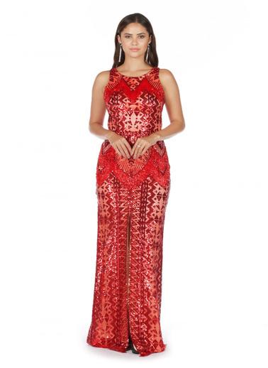 Pierre Cardin Payetli Önü Yırtmaçlı Abiye Elbise Kırmızı